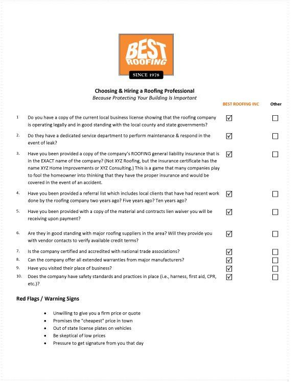 Roofing Contractor Checklist | Best Roofing