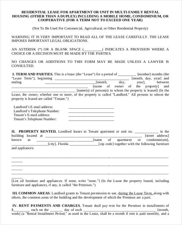 13+ Apartment Rental Agreement Templates – Free Sample, Example ...