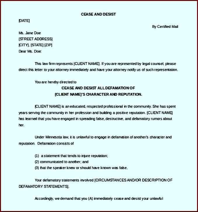 Download Sample Cease and Desist Letter Defamation Template ...