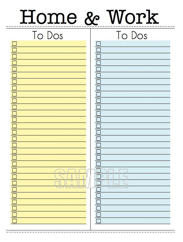 Home and Work To Do Lists Editable Organizing Printable