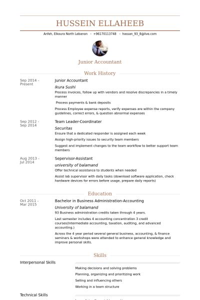 Junior Accountant Resume samples - VisualCV resume samples database