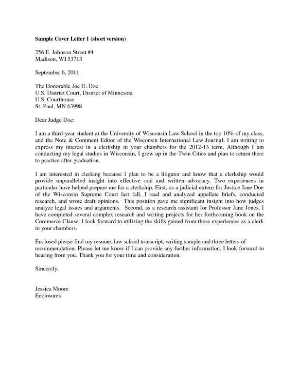 Sample Clerkship Cover Letter | The Best Letter Sample