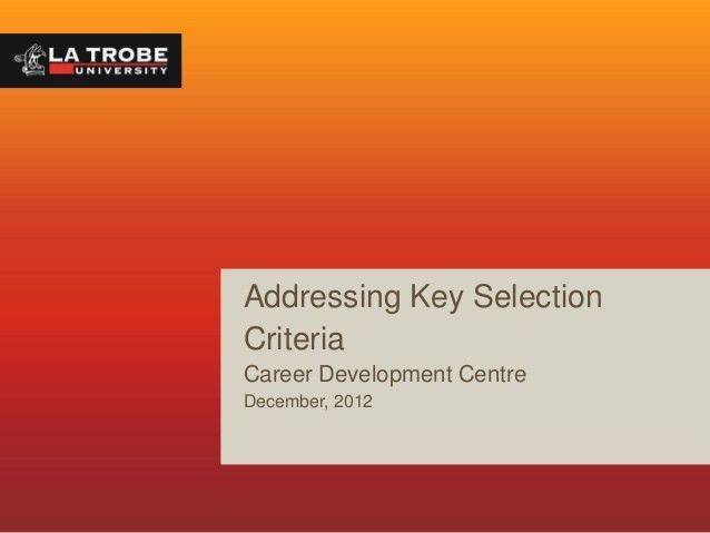 Addressing Key Selection Criteria