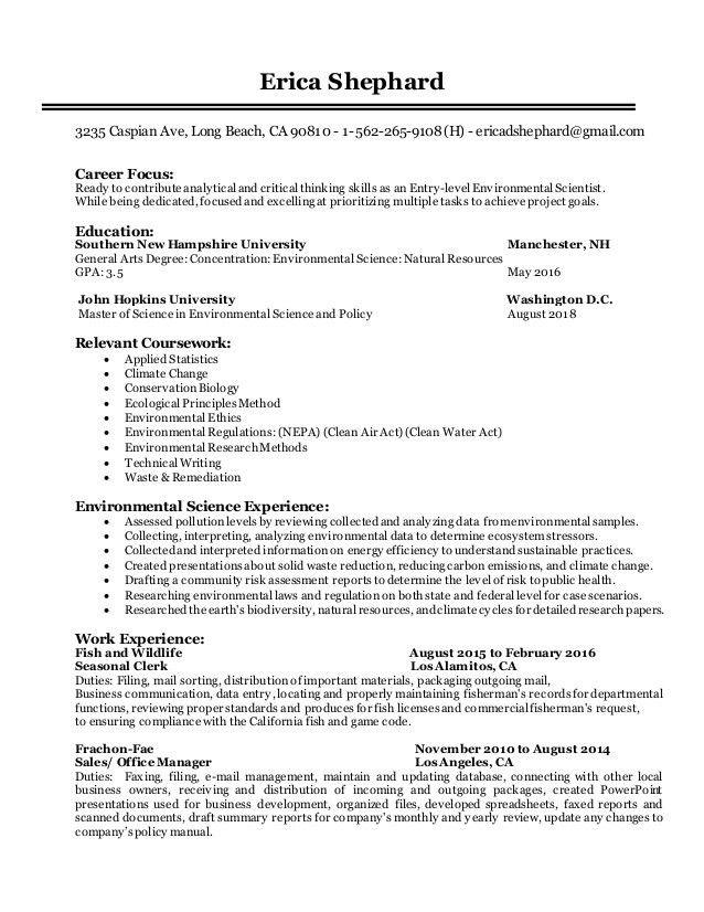 Entry level environmental scientist resume