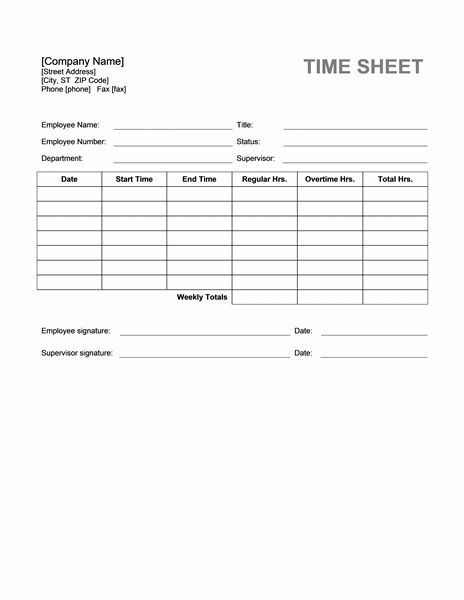 Official Time Sheet Templates | Formal Word Templates