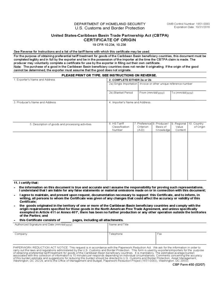 CBP Form 450 - US CBTPA Certificate of Origin Free Download