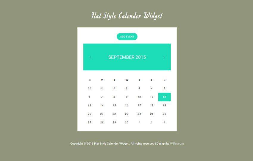 Flat Style Calendar Responsive Widget Template by w3layouts