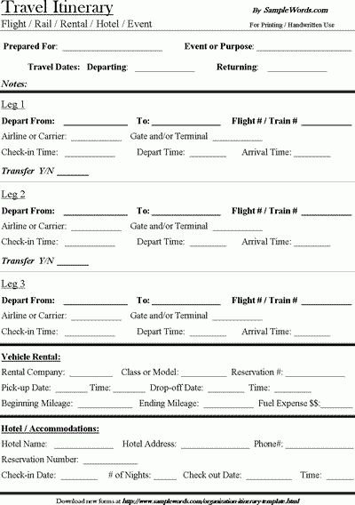 Travel Itinerary Template - Free Download - Microsoft Word