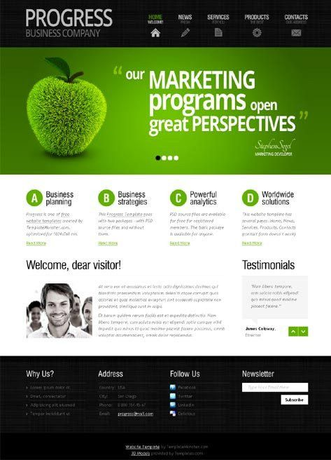 web-design website site green apple nature marketing simple clean ...