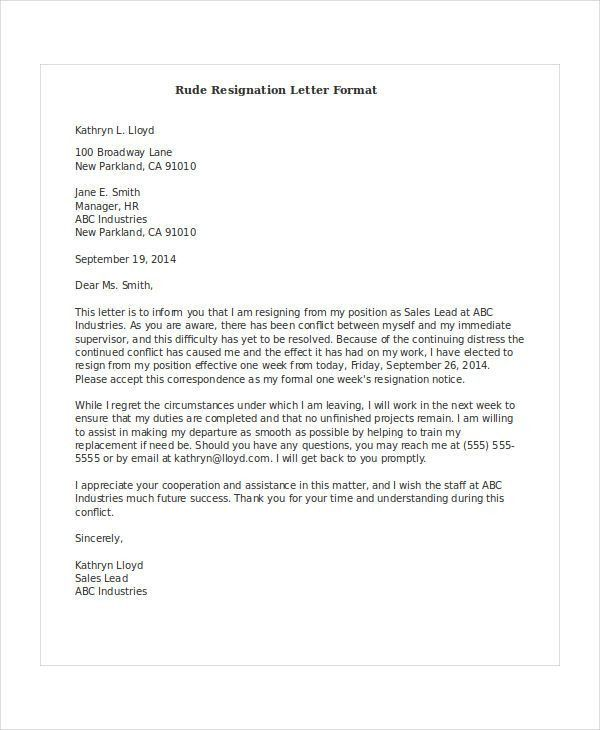 Rude Resignation Letter. Retail Store Job Resignation Letter 8+ ...