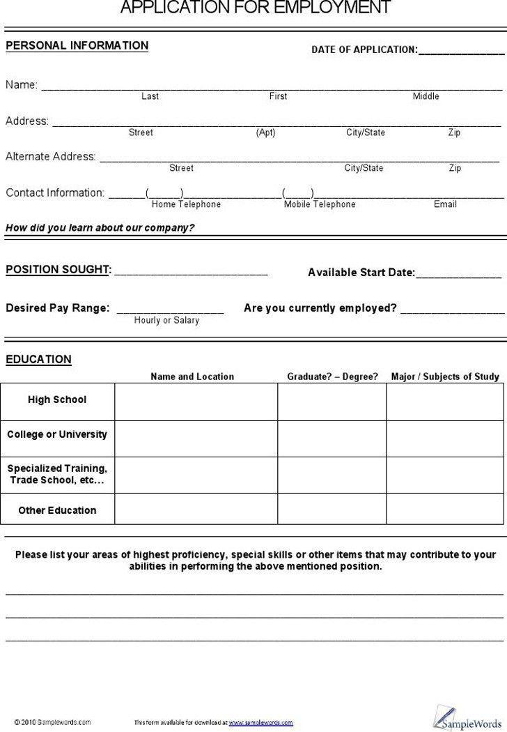 Job Application Form For Cvs | Professional resumes sample online