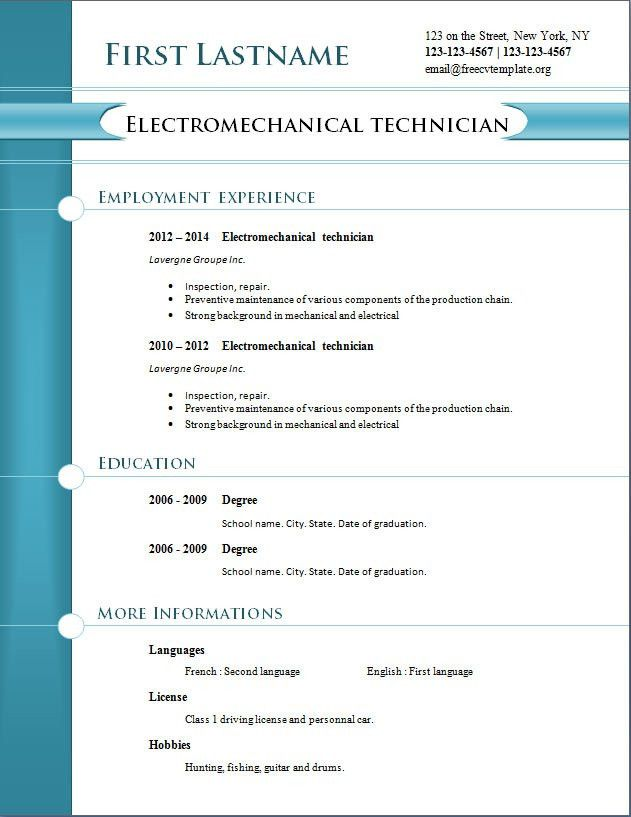 Download Resume Templates Free. Best Resume Formats Free Samples ...