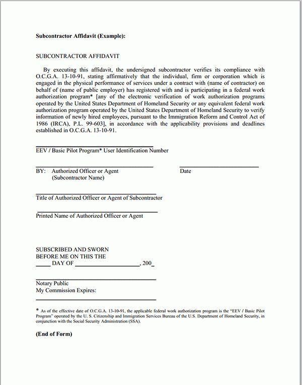 Excellent Affidavit Form Template Example with State of and County ...