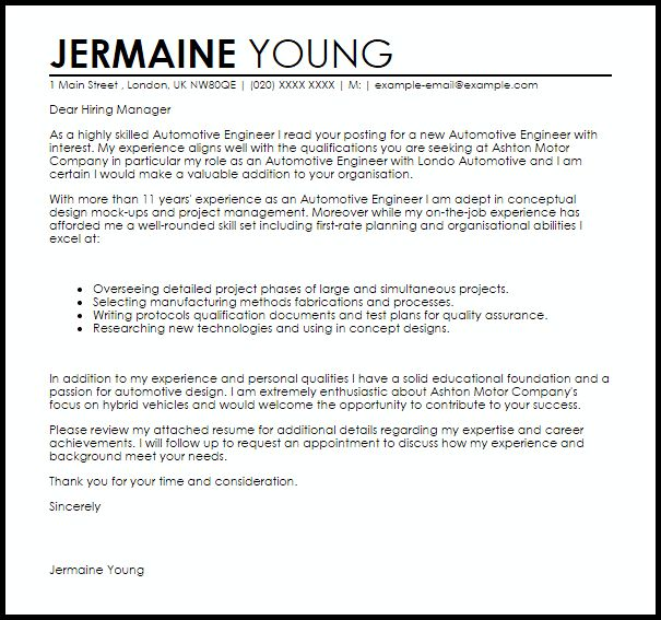 Automotive Engineer Cover Letter Sample   LiveCareer