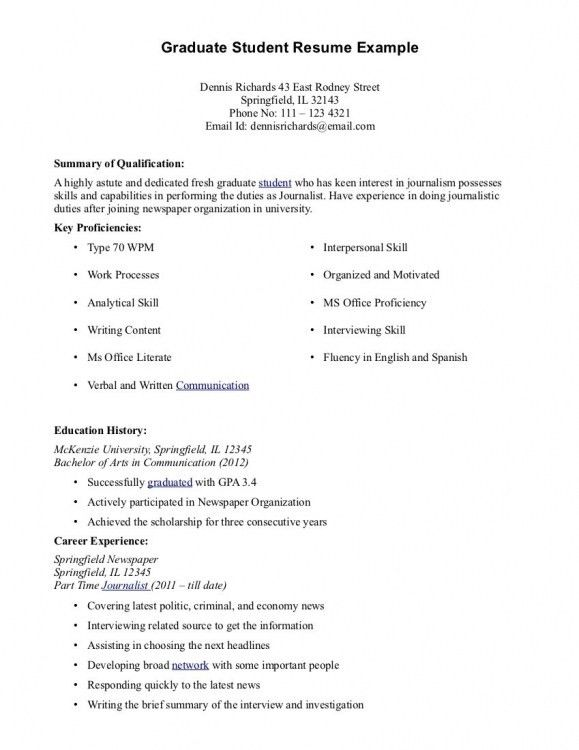 graduate student resume sample