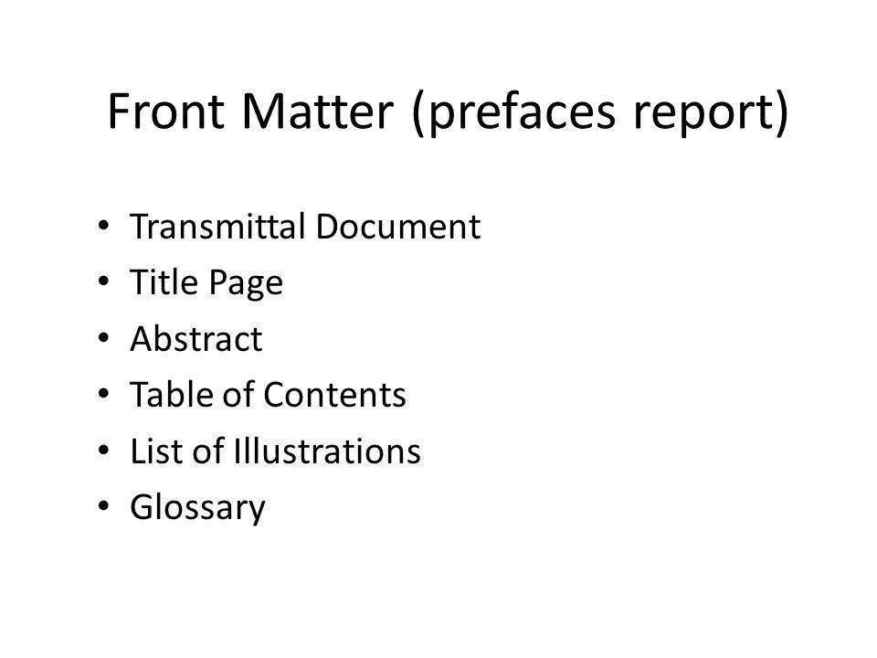 Front Matter (prefaces report) - ppt video online download