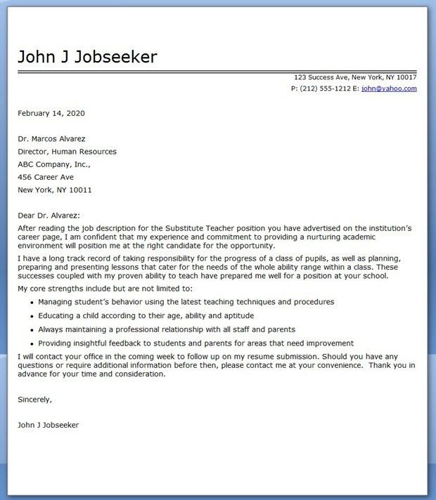Substitute Teacher Cover Letter Examples | Creative Resume Design ...