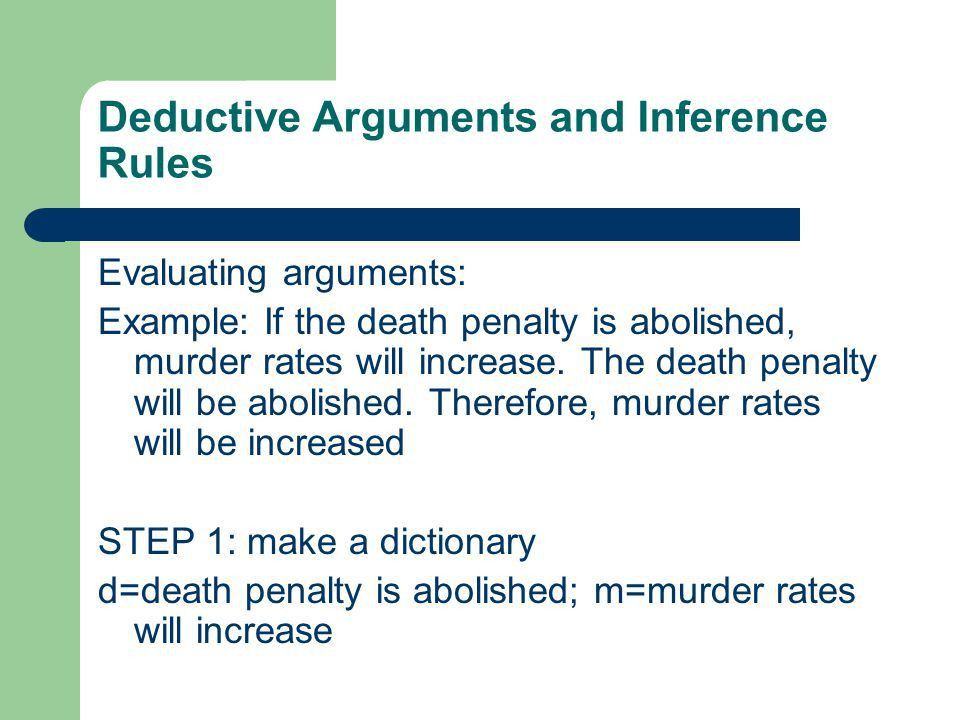 Deductive Arguments and Inference Rules Terminology: Valid ...