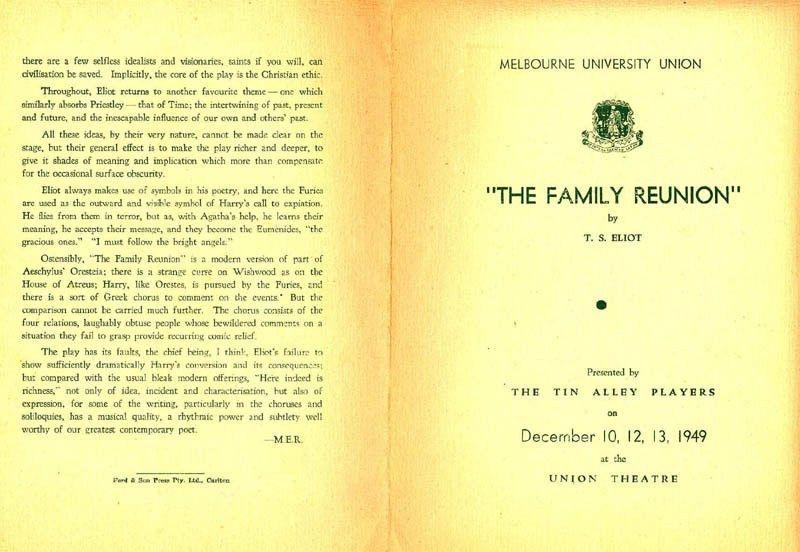 The Family Reunion – 12/10/1949 | Melbourne University Student ...