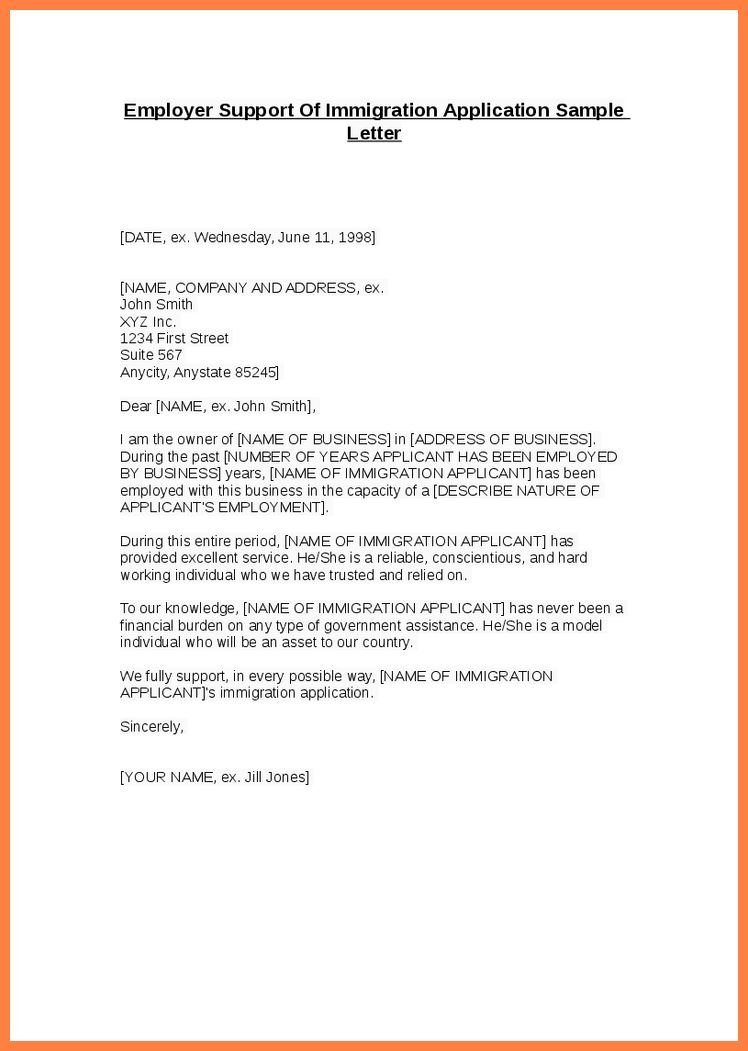 7+ personal recommendation letter for immigration sample | Appeal ...