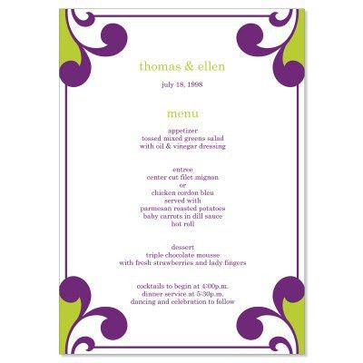 Purple & Green Wedding Menu Templates - Elena Grape Do It Yourself ...