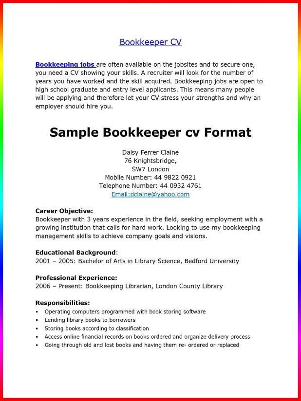 freelance bookkeeper cover letter bookkeeper bookkeeper resume ...