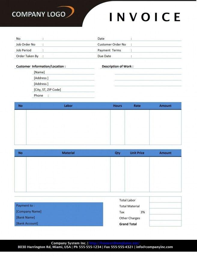Labor Invoice Template | printable invoice template