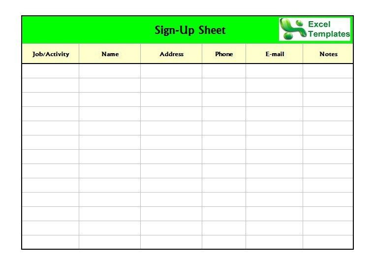 Sign Up Sheet Template | peerpex