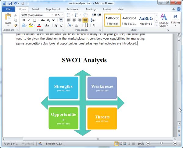 SWOT Templates for Word