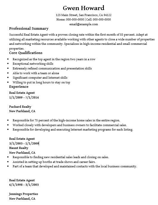 16 Free Sample Real Estate Agent Resumes – Sample Resumes 2016