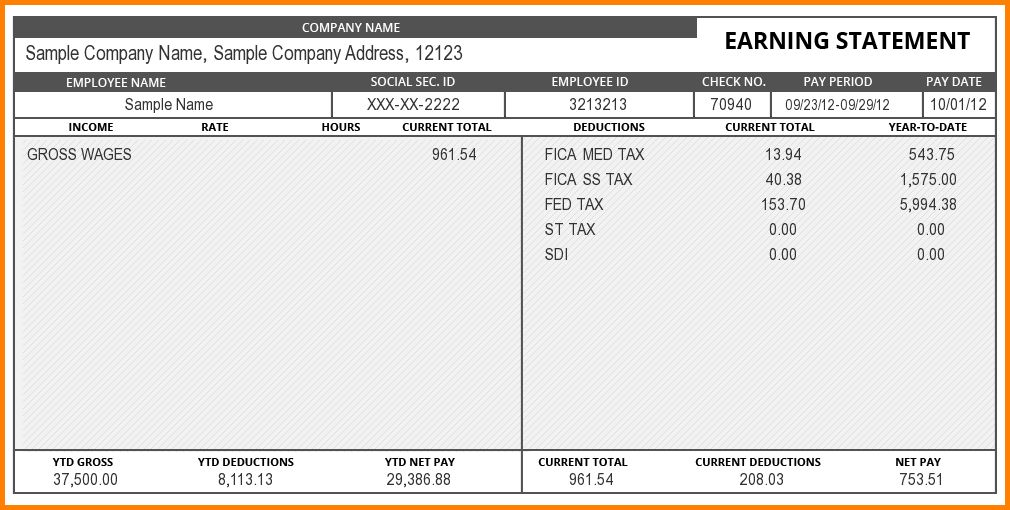 Free Paystub Template.pay Stub Sample.png - Letter Template Word