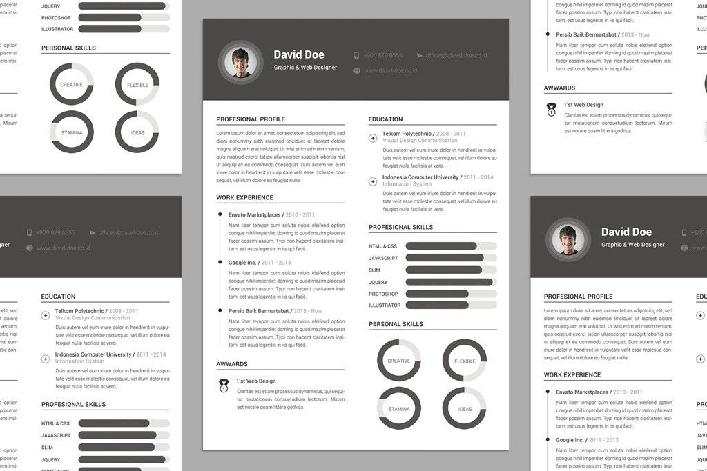 Free Elegant Resume (CV) Design Template PSD File - Good Resume