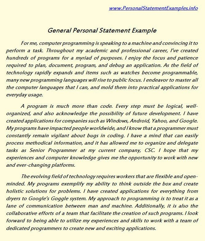 General Personal Statement Examples for You http://www ...