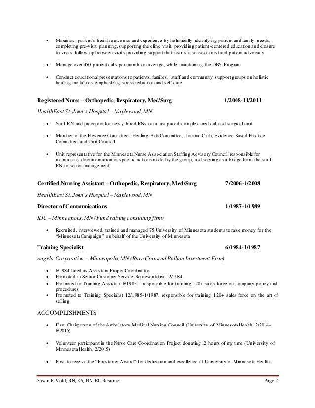 Susan Vold Resume 8.29.15