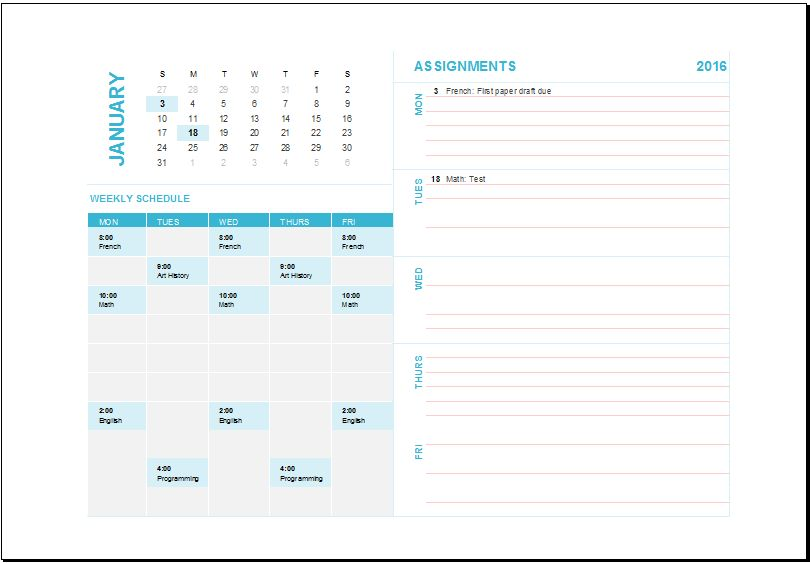 MS Excel Weekly Task Planning Calendar Template | Excel Templates