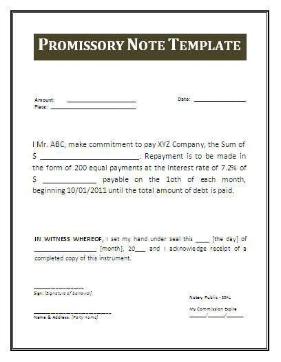 Promissory Note Templates | Company Documents