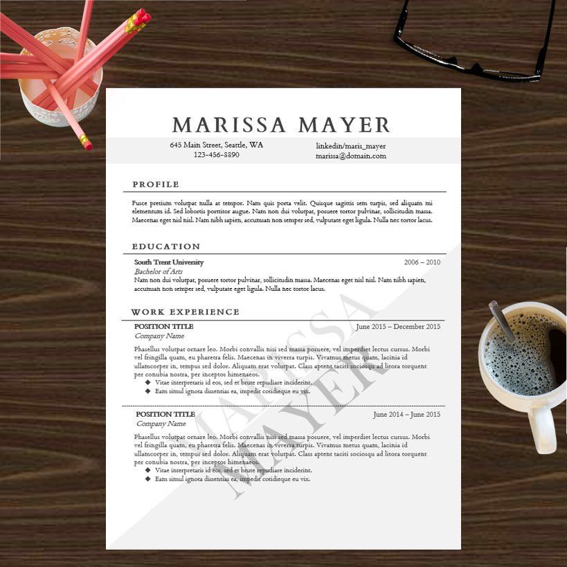 Resume Template Instant Digital Download Cover Letter