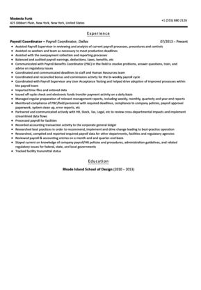 Payroll Coordinator Resume Sample | Velvet Jobs