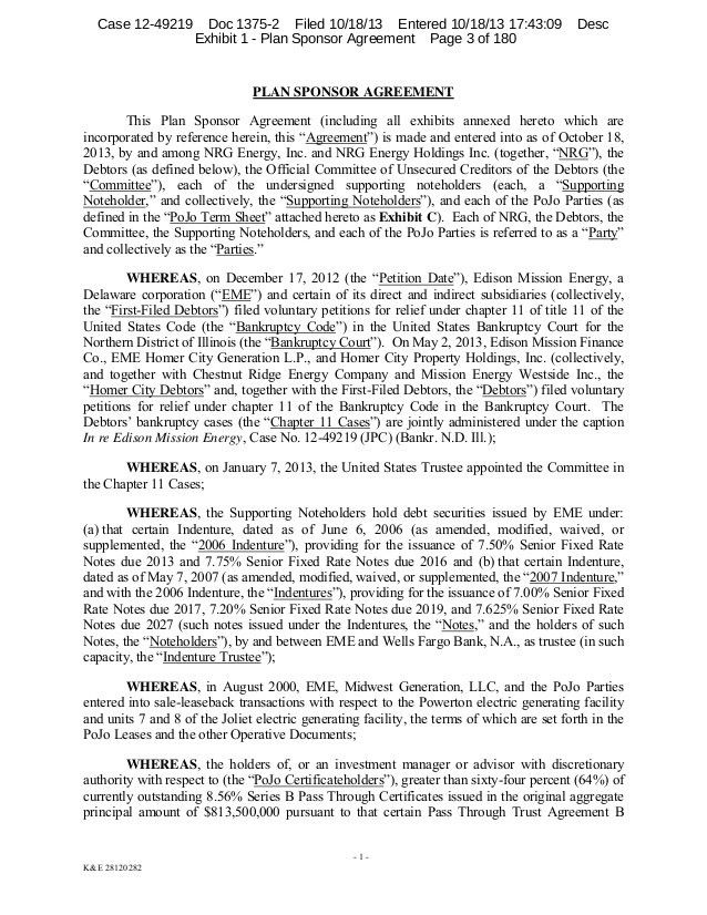 Edison mission plan sponsor agreement