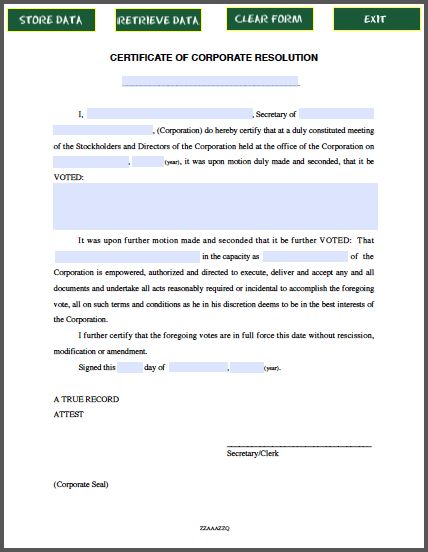 Certificate of Corporate Resolution | Forms | Pinterest