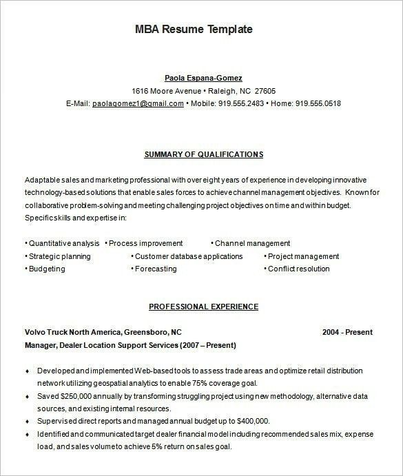 business school resume template