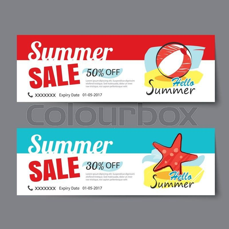 Summer sale voucher template.Discount coupon. Banner hand drawn ...