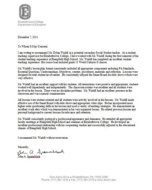 Ideas Collection Letter Of Recommendation For High School Senior ...