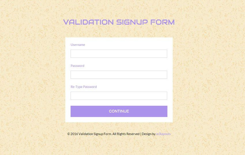 Validation Signup Form Responsive Widget Template - w3layouts.com