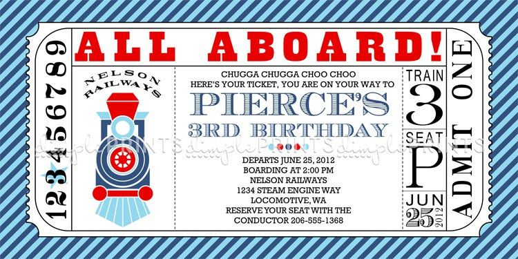 train ticket birthday invitation template