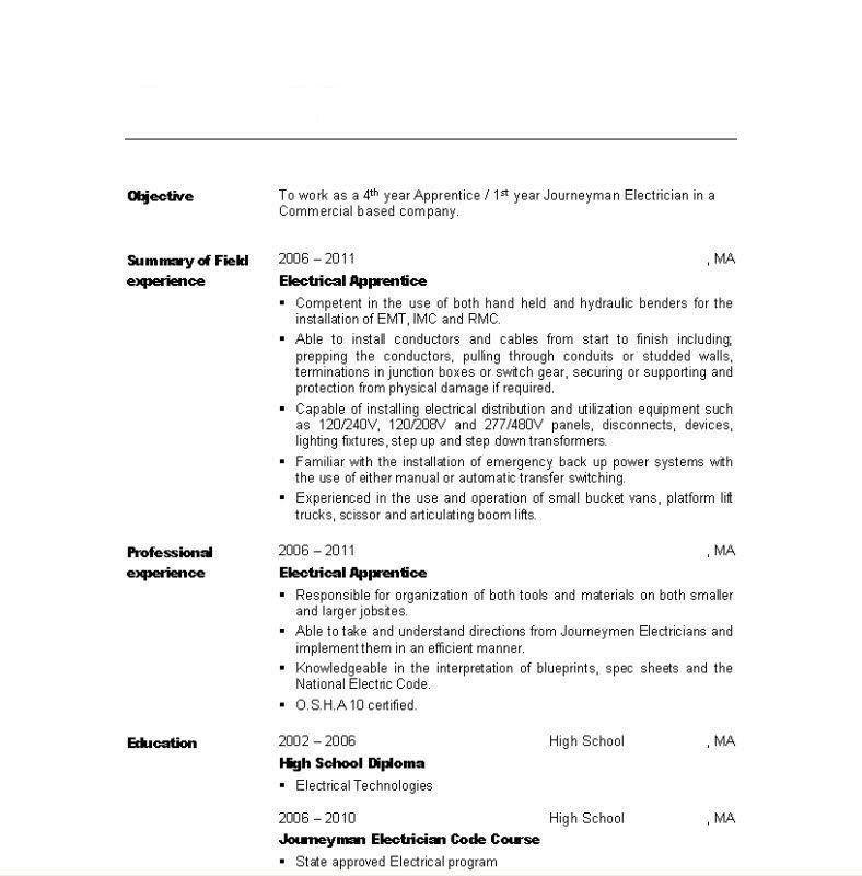 Super Cool Electrician Apprentice Resume 1 Unforgettable ...
