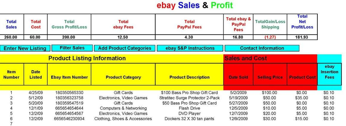 ebay Sales and Profit Spreadsheet