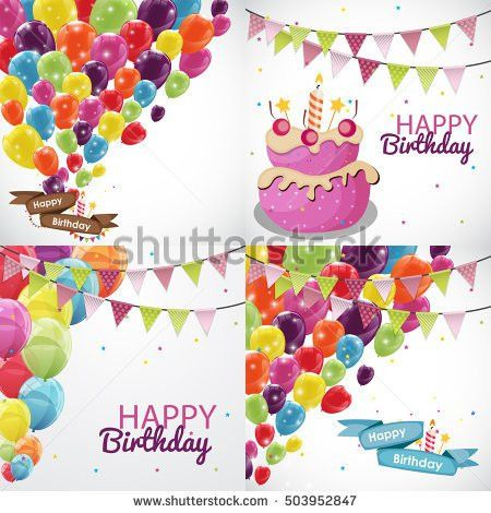 Happy Birthday Card Template Balloons Ribbon Stock Vector ...