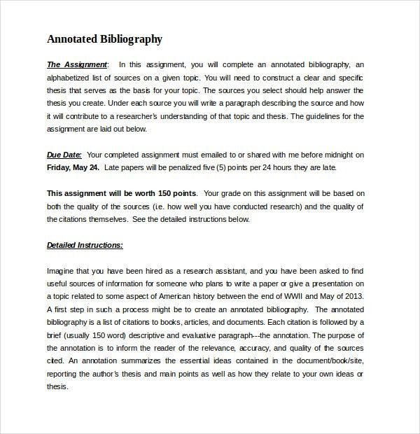 10+ Free Annotated Bibliography Templates – Free Sample, Example ...