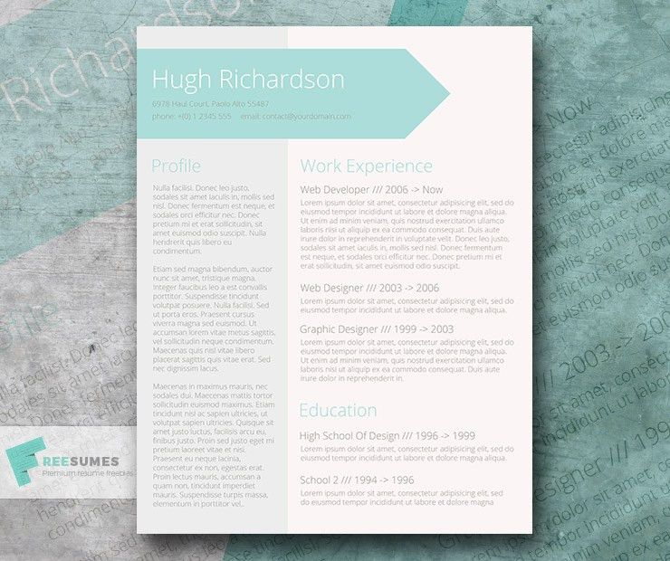 Free Turquoise Resume CV Template - Greenish Blue